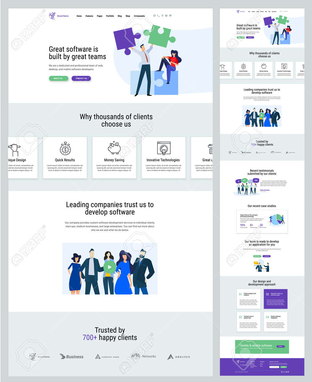 One page website design template. Vector illustration concept for web design and development on the topic of business app, IT solution, teamwork, market research. - 169661941