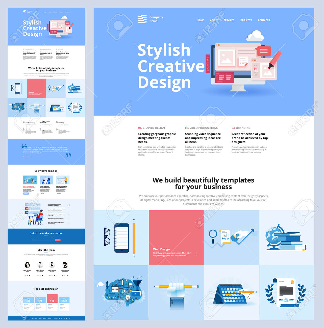 One page website design template. Vector illustration concept for web design and development on the topic of creative web templates, branding, video marketing, business strategy and seo. - 169661957