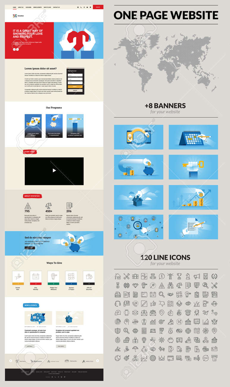 One page website design template. Set of vector illustrations and icons for web design and development. A complete solution for creating a web design. - 169661973