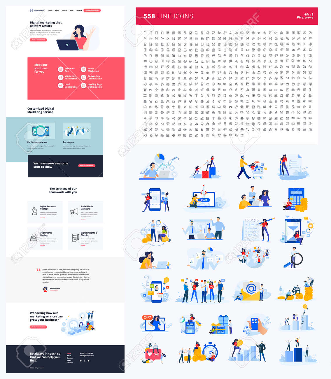 One page website design template. Set of vector illustrations and icons for web design and development. A complete solution for creating a web design. - 169661981