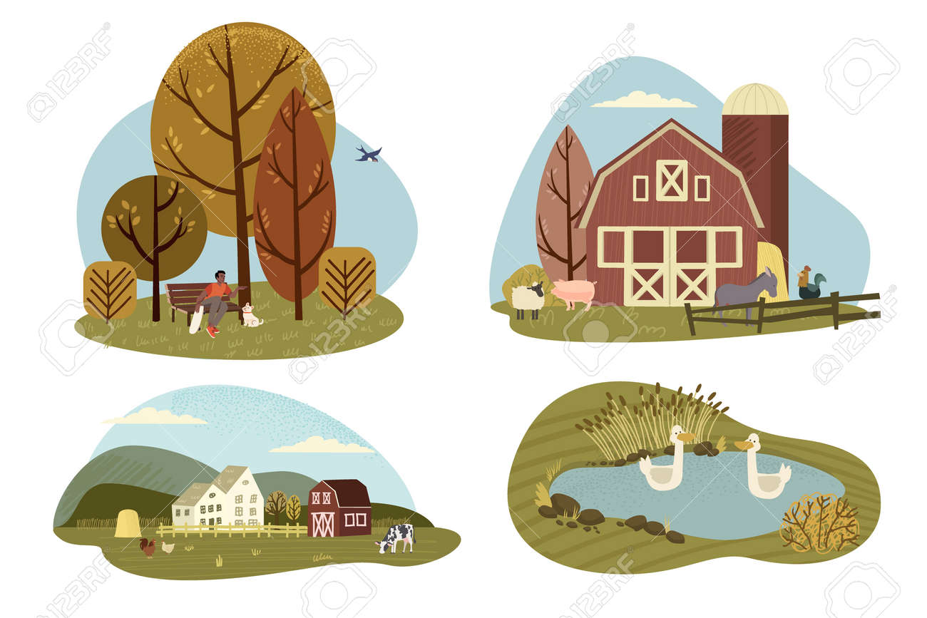 Organic farming, agriculture and gardening. Vector illustrations of rural motifs for web banners and background, poster, cards, business presentation, marketing material. - 170337016