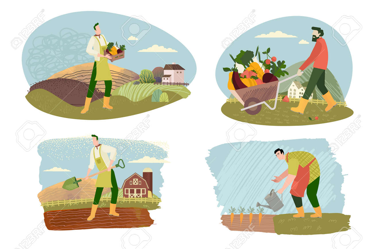 Organic farming, agriculture and gardening. Vector illustrations of organic food production, for web banners and background, poster, business presentation, marketing material for food market. - 170337226