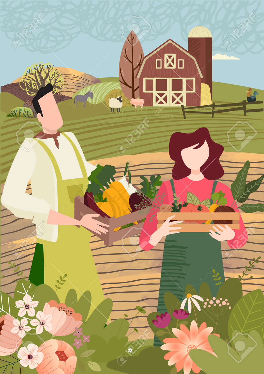 Organic farming, agriculture and gardening. Vector illustration for poster, brochure cover, background, business presentation, marketing material for food market and restaurants. - 171191660
