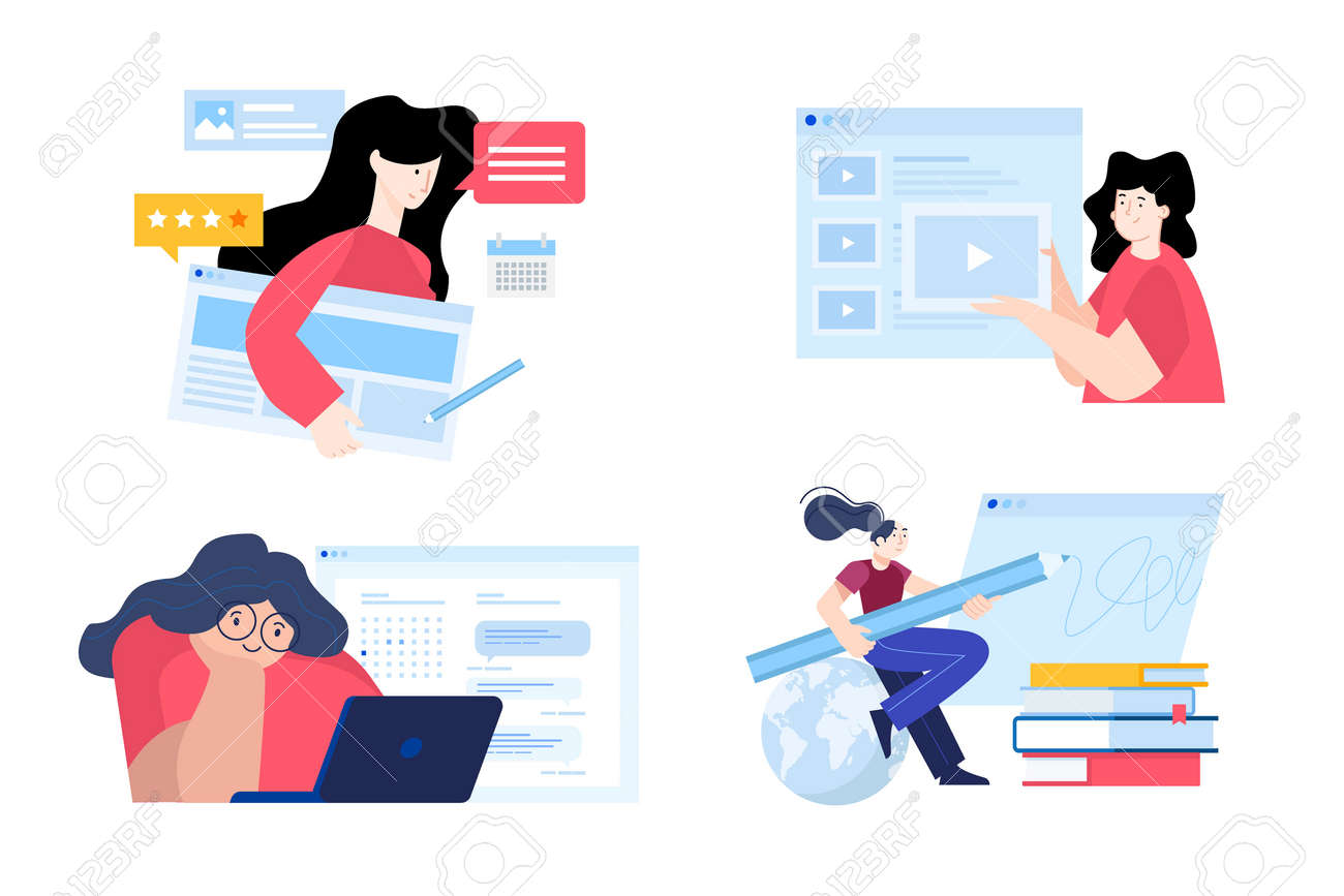 Back to school. Flat design concepts of education, e-learning, school, online courses and training. Vector illustrations for website banner, marketing material, presentation template, online ads. - 172080036