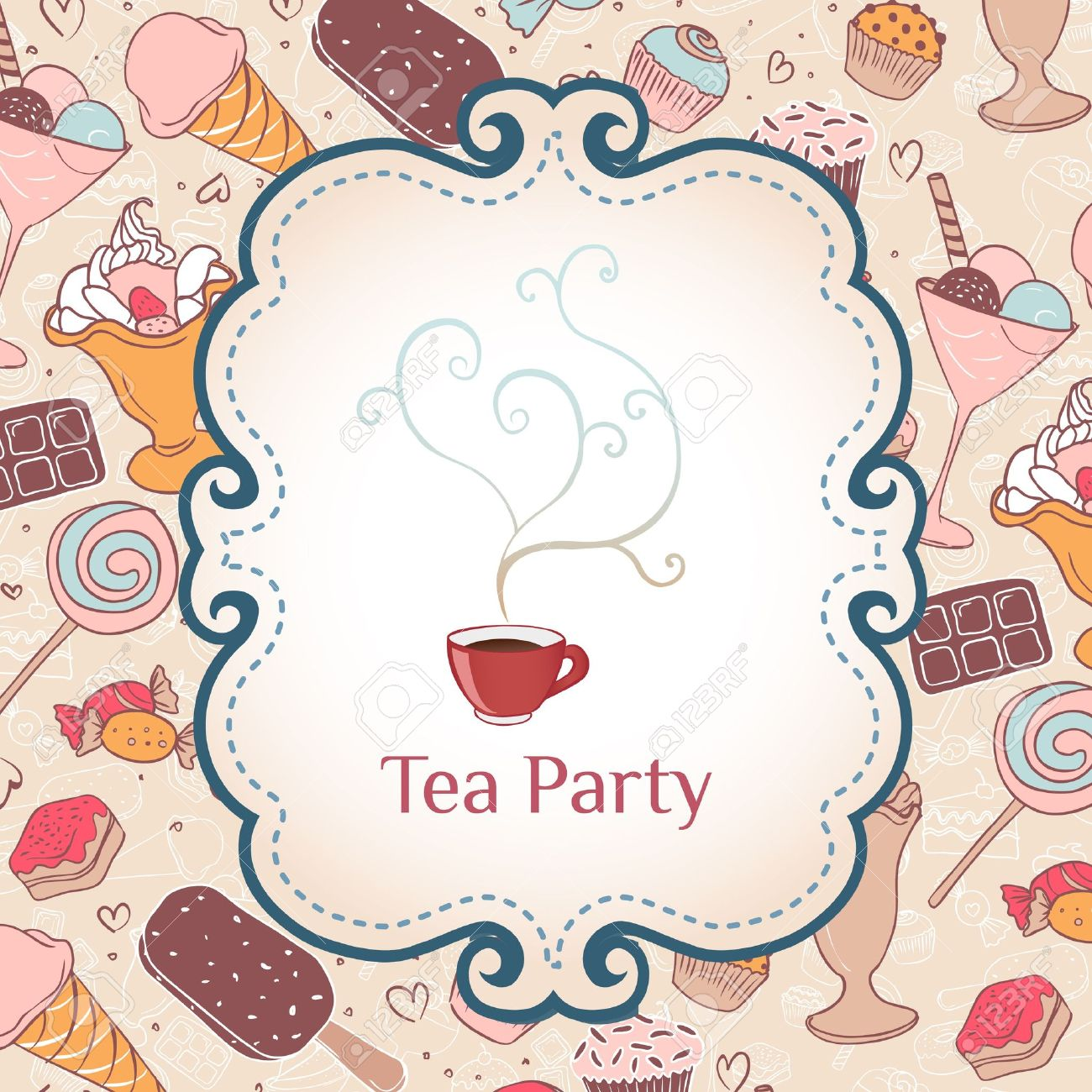 tea party invitation vintage style frame vector illustration