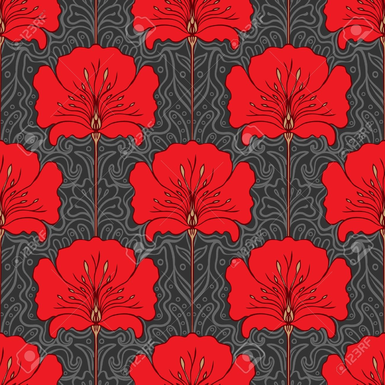 Colorful seamless pattern with red flowers on gray background. Art nouveau style. Stock Vector - 20394049