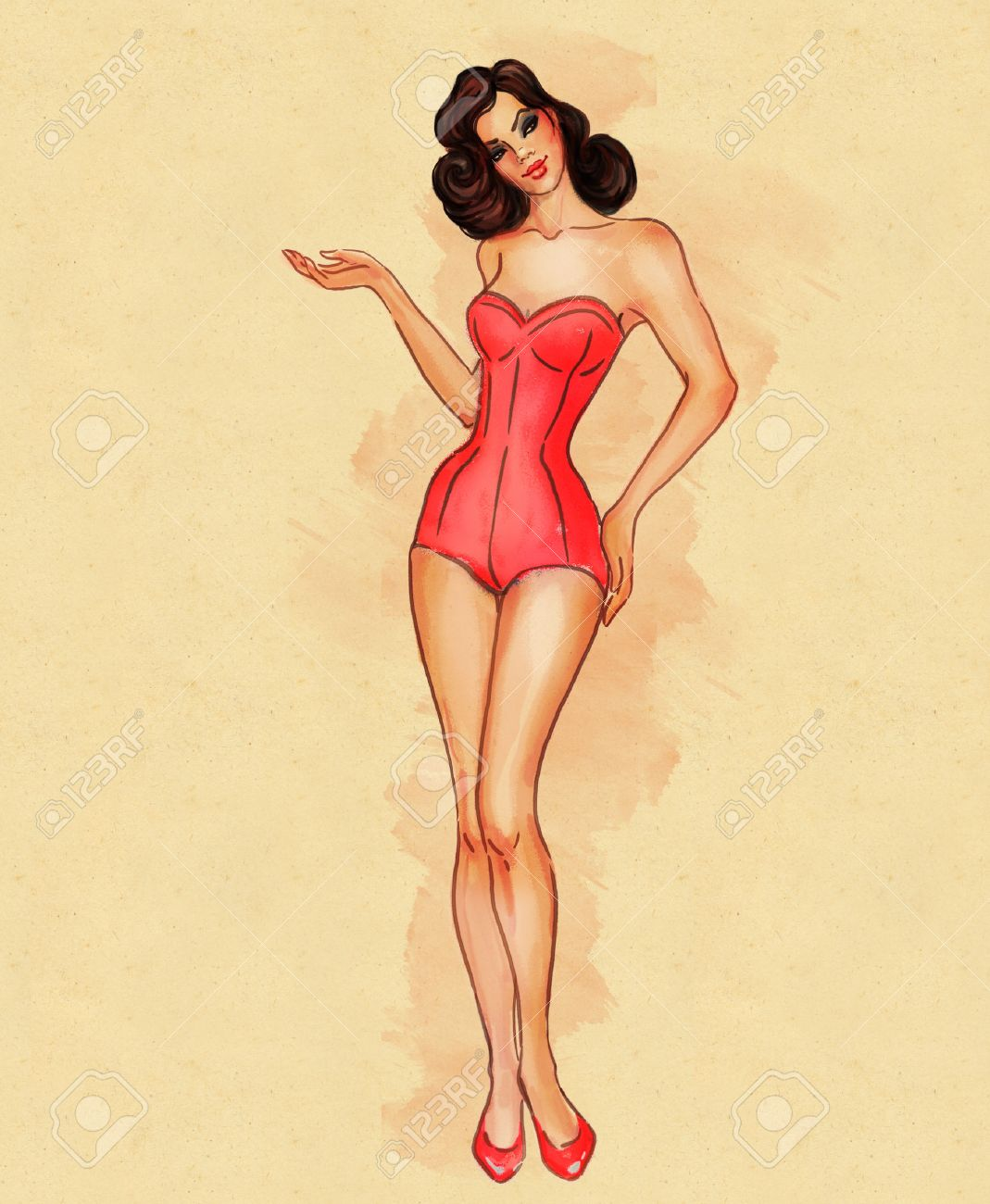 92441dafbf7aa Pretty retro sexy pinup girl in swimsuit displaying something Illustration  Stock Illustration - 24570102