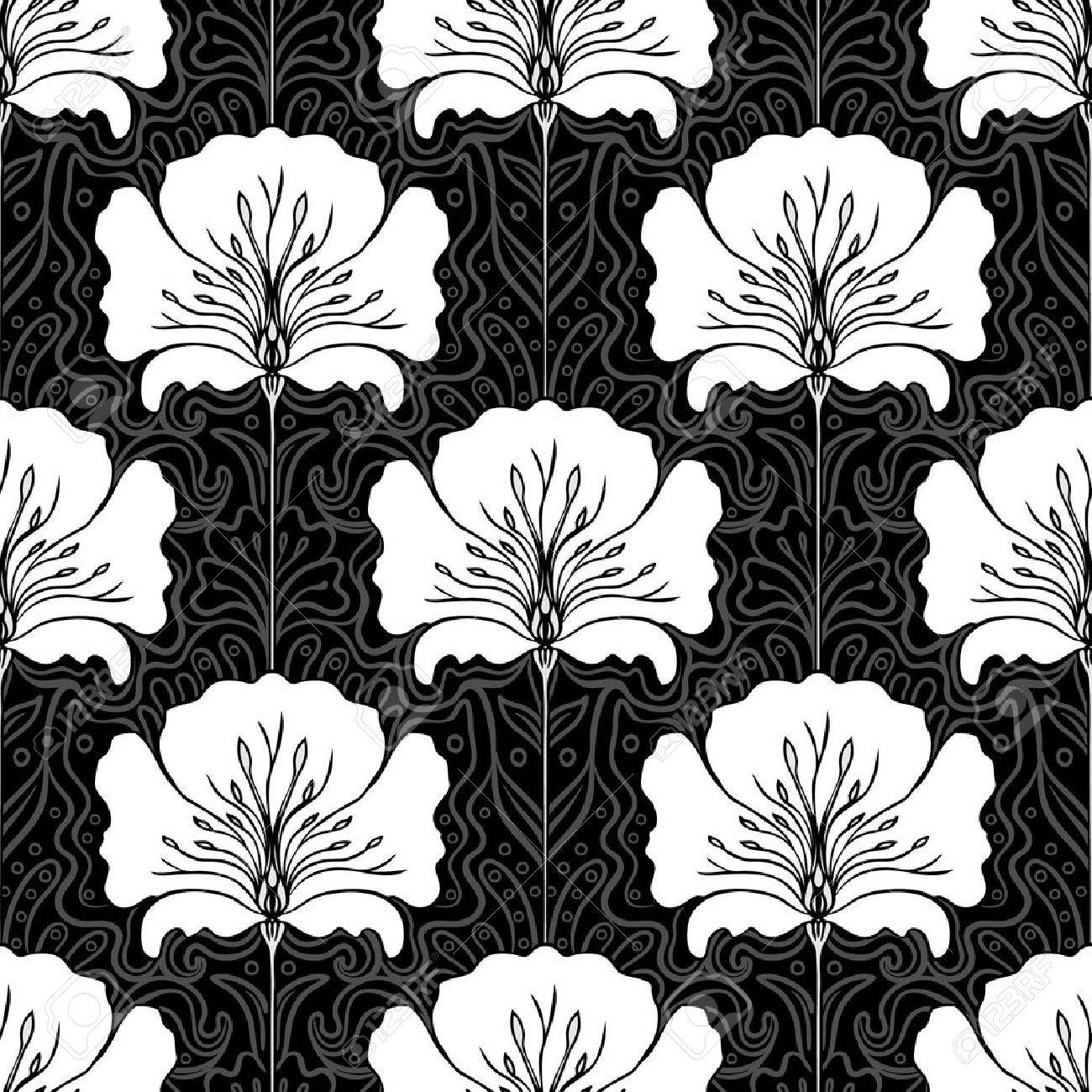 Black and white seamless pattern with pink flowers art nouveau style stock vector
