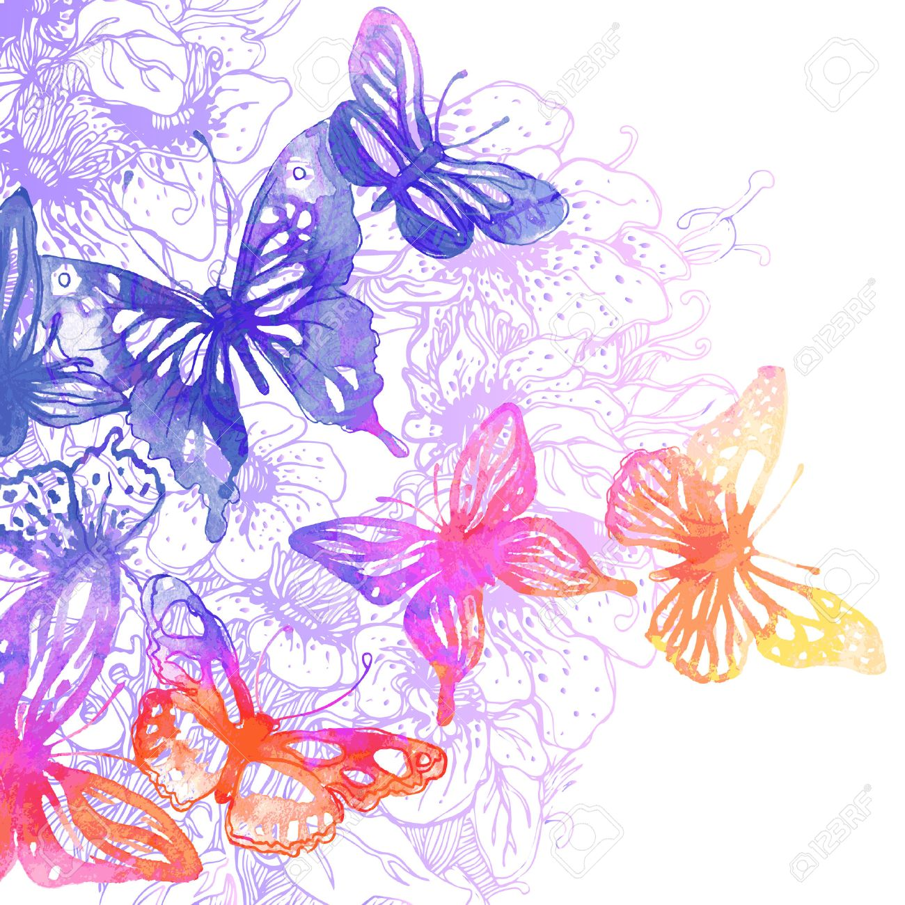amazing background with butterflies and flowers painted with