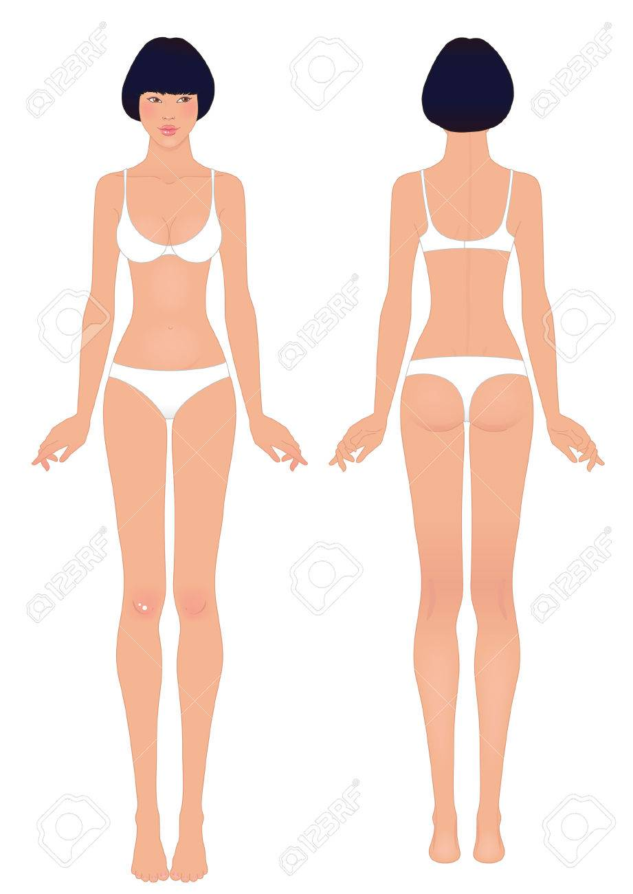 Young Asian Womans Body Template Front And Back Royalty Free