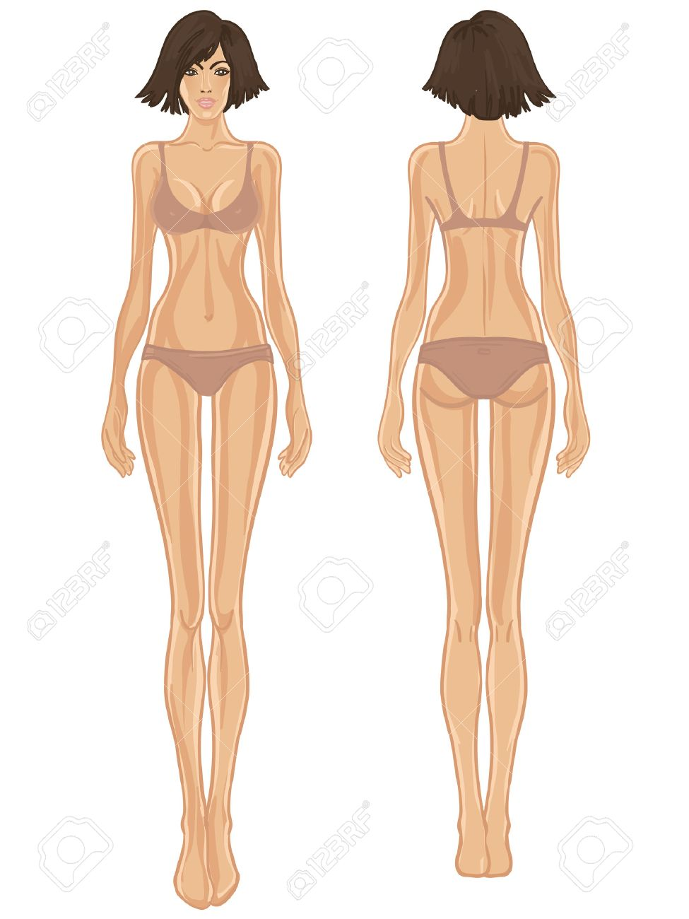 Young European Womans Body Template Front And Back Royalty Free