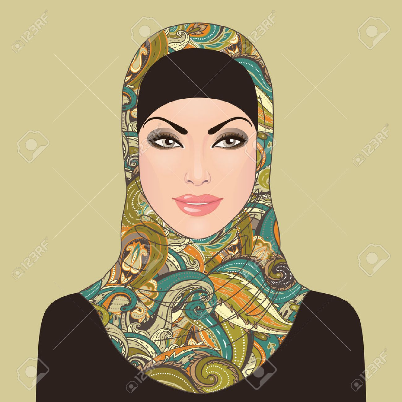 Portrait of  muslim beautiful girl in patterned hijab, vector illustration Stock Vector - 24586899