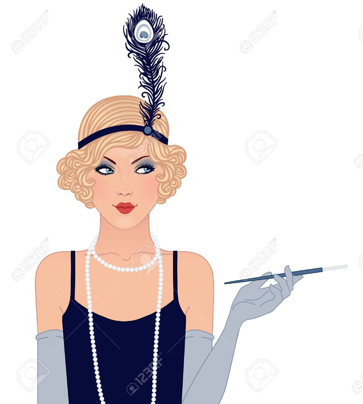 Flapper girl: Retro party invitation design. Vector illustration. - 24580471