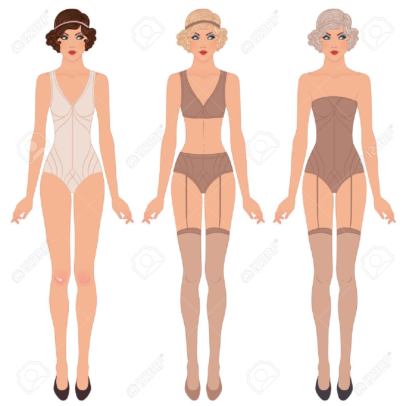 Paper doll stock photos pictures royalty free paper doll images flapper girl retro party invitation design vector illustration cute dress up paper doll pronofoot35fo Gallery