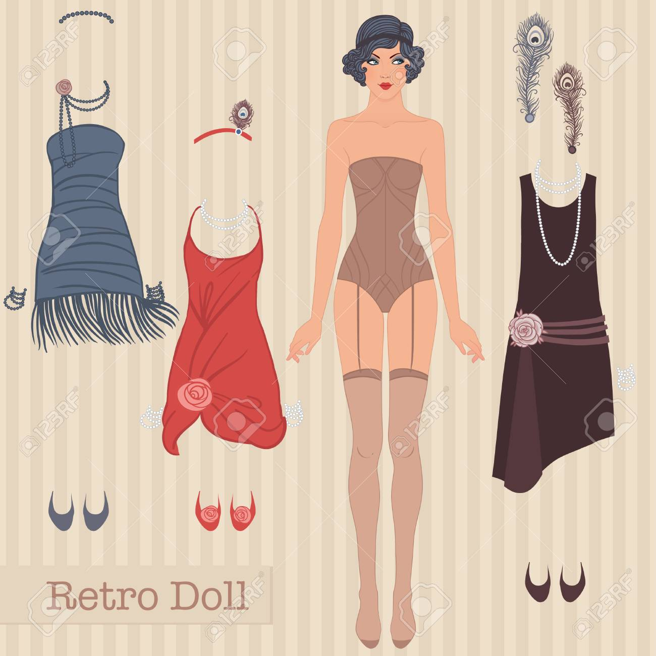 Flapper girl Retro party design. Vector illustration. Cute dress up paper  doll.