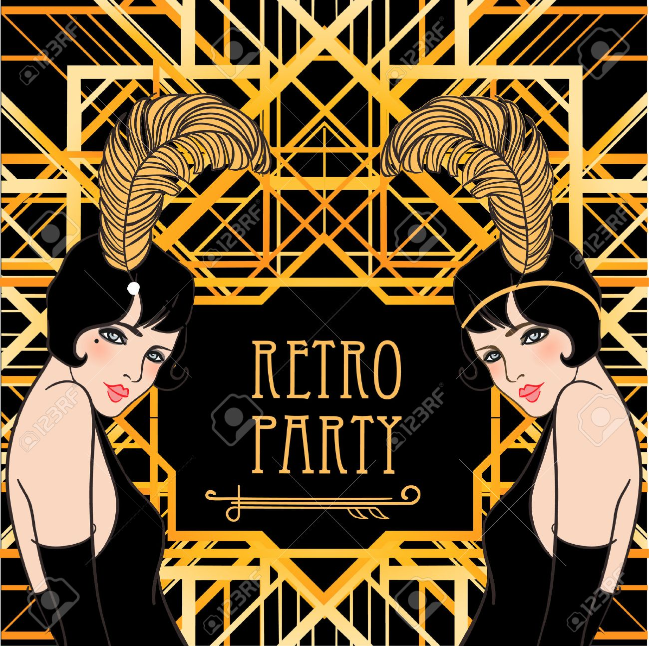 Flapper girl retro party invitation design vector illustration flapper girl retro party invitation design vector illustration great gatsby style stock stopboris Image collections