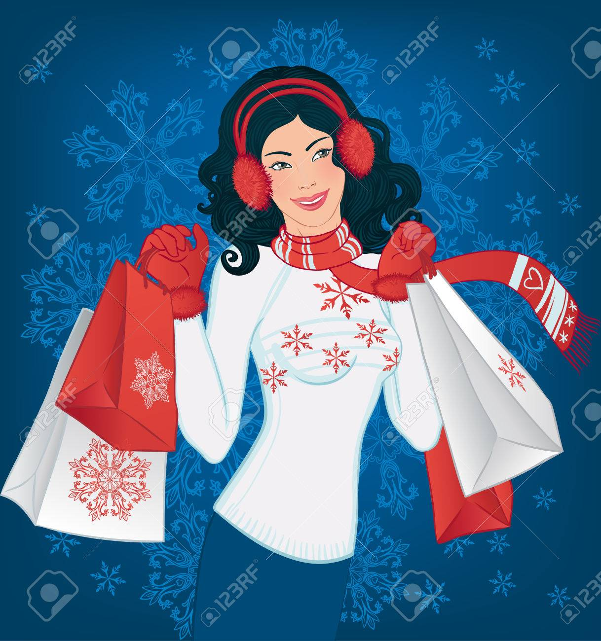 Winter shopping: Beautiful asian brunette woman with christmas shopping bags on the vector background with snowflakes. Stock Vector - 24625366