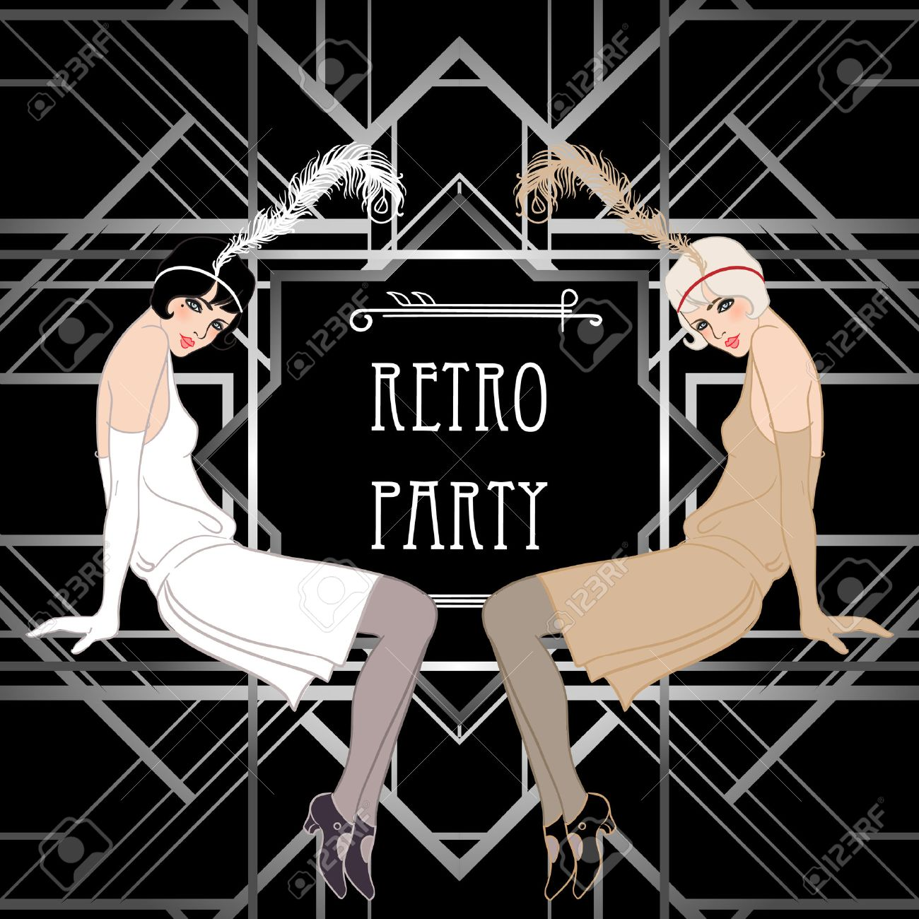 flapper girl retro party invitation design vector illustration great gatsby style stock - Gatsby Party Invitation