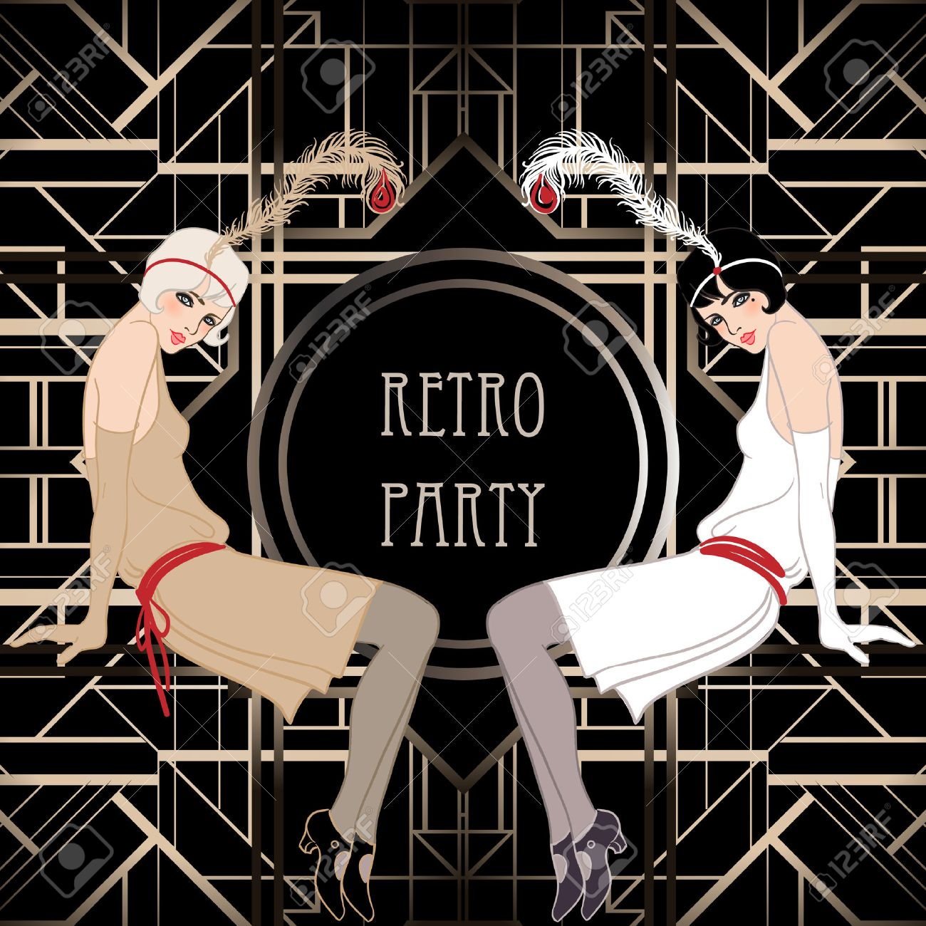 Flapper girl retro party invitation design vector illustration flapper girl retro party invitation design vector illustration great gatsby style stock stopboris Image collections