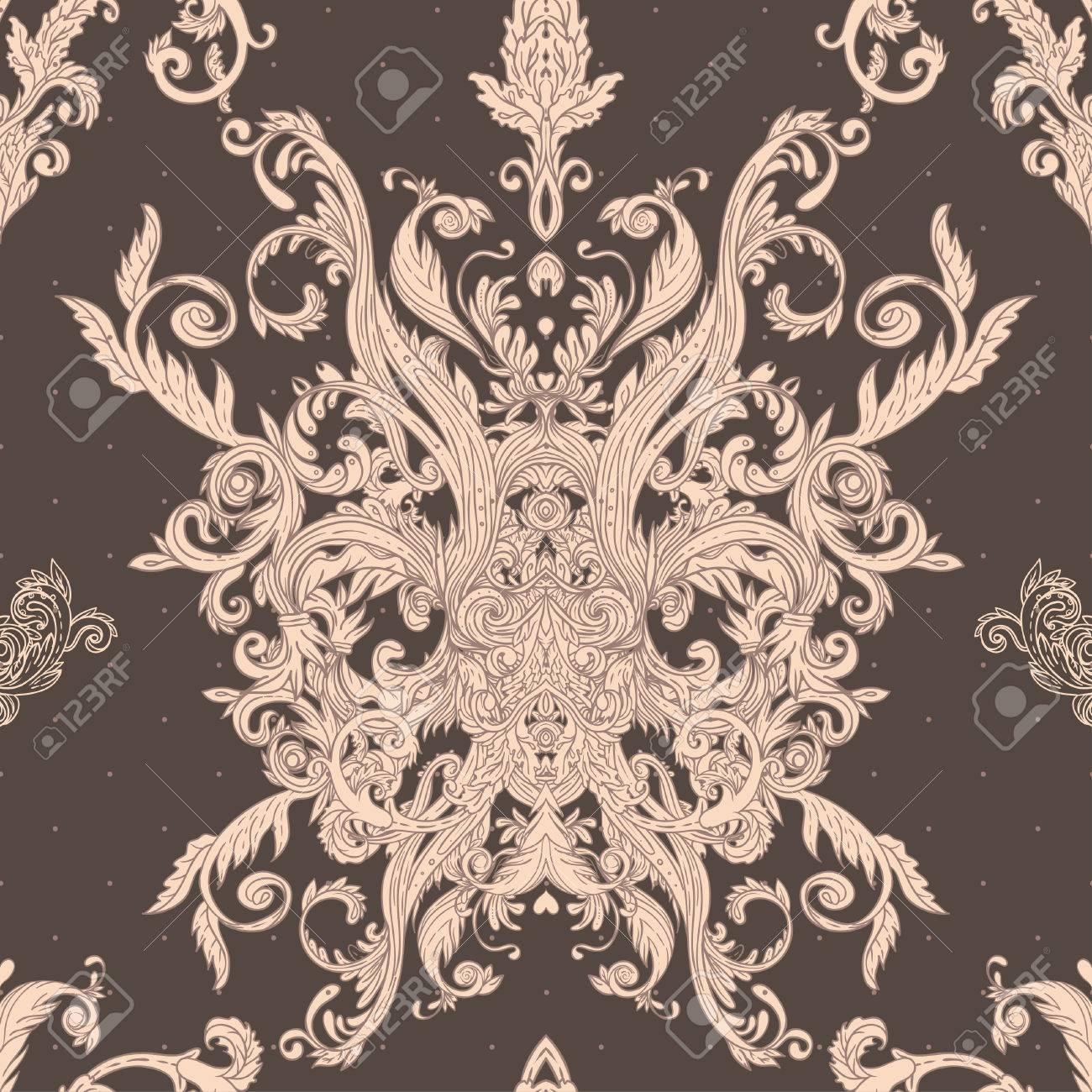 Seamless vintage background brown baroque pattern Stock Vector - 24615964