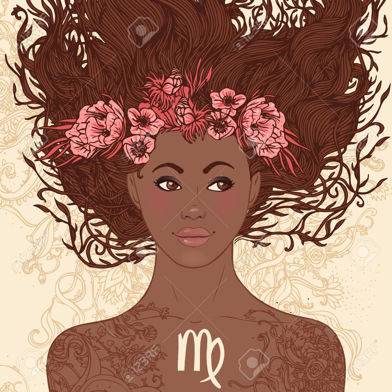 Zodiac Beautiful Girls Set (African American Version). Virgo. Royalty Free  Cliparts, Vectors, And Stock Illustration. Image 24677354.