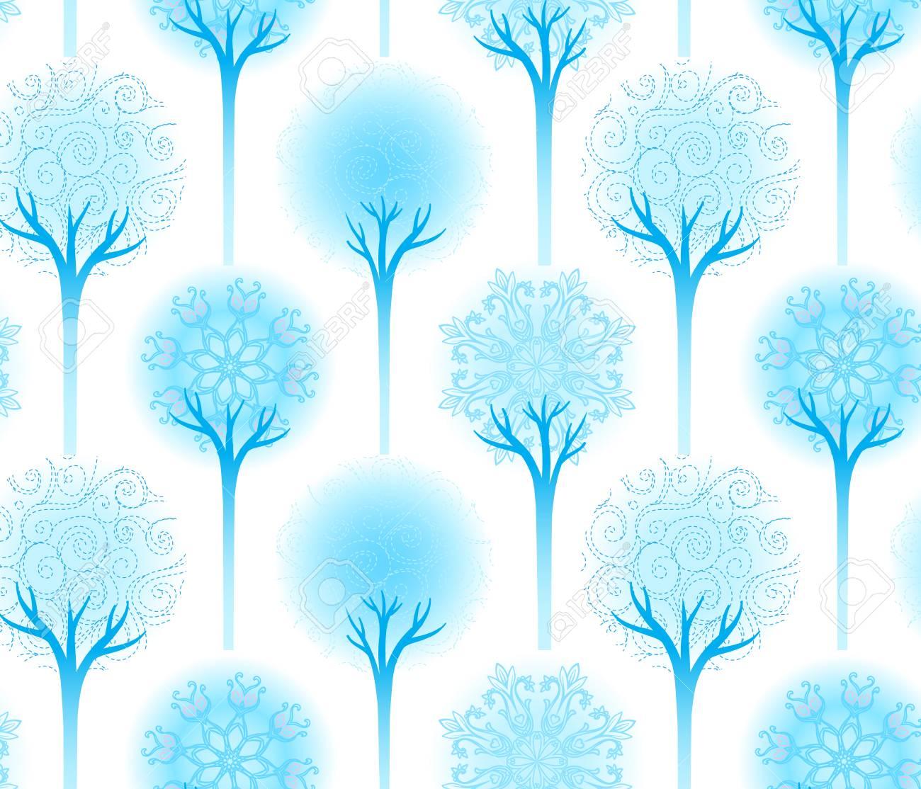 Seamless winter tree pattern vector illustration Stock Vector - 24674852