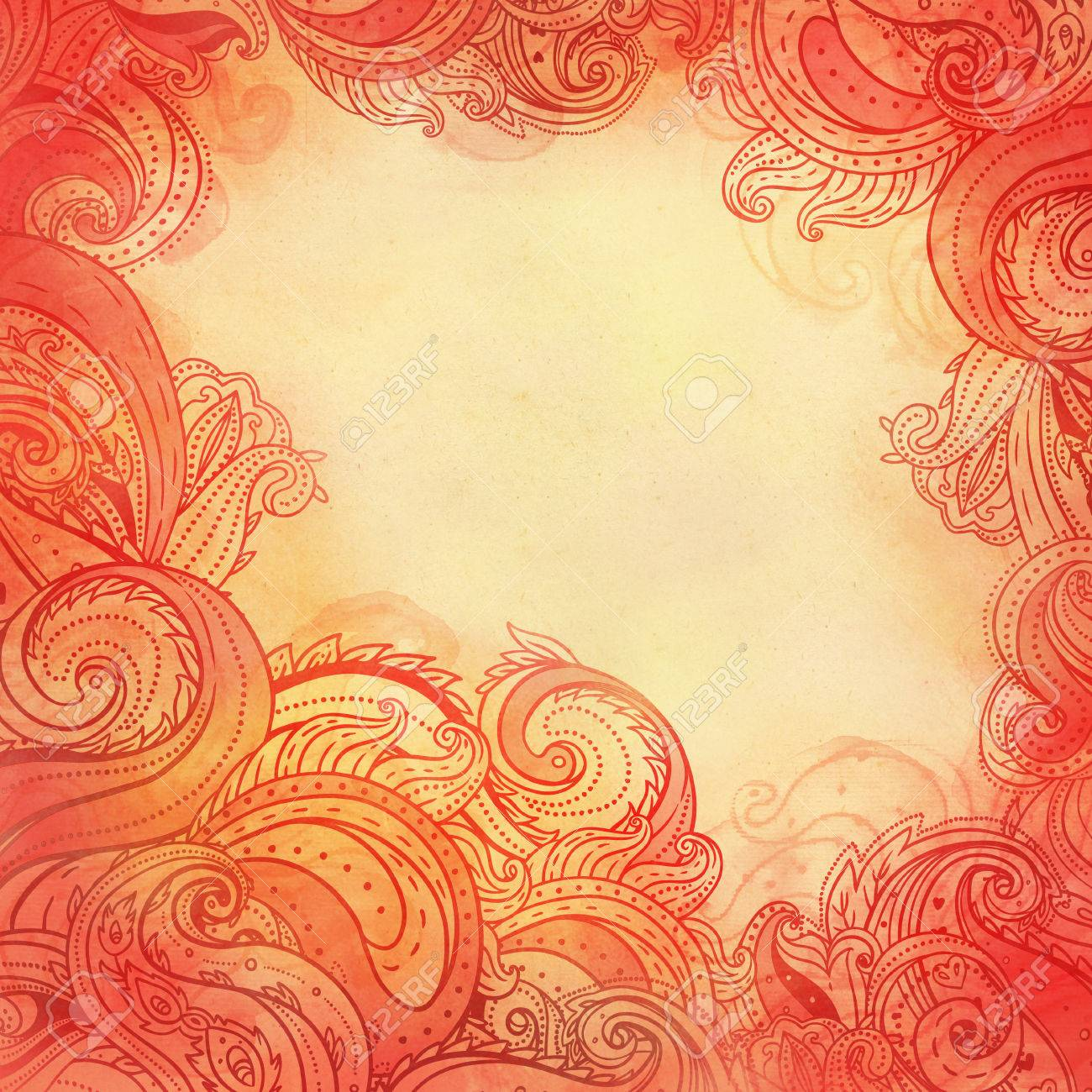 Paisley Watercolor Patterned Frame Trendy Modern Wallpaper Or