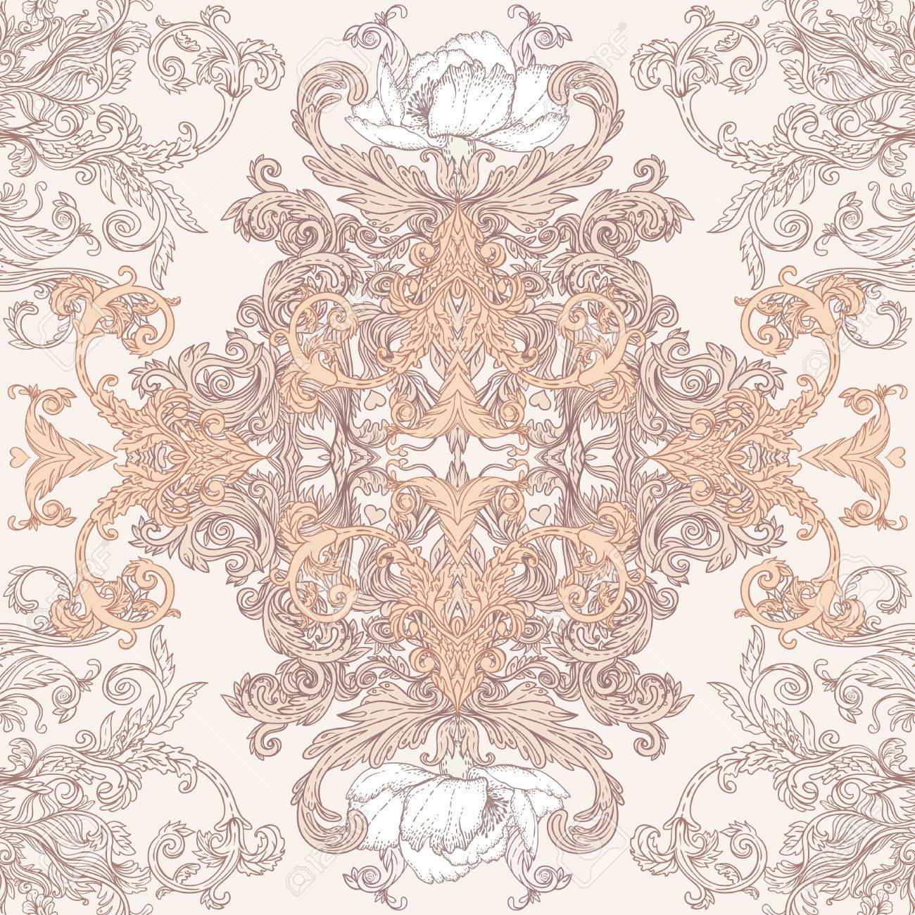 Vintage background ornate baroque pattern vector illustration stock - Vintage Background Ornate Baroque Pattern Vector Illustration Stock Vector 33591869