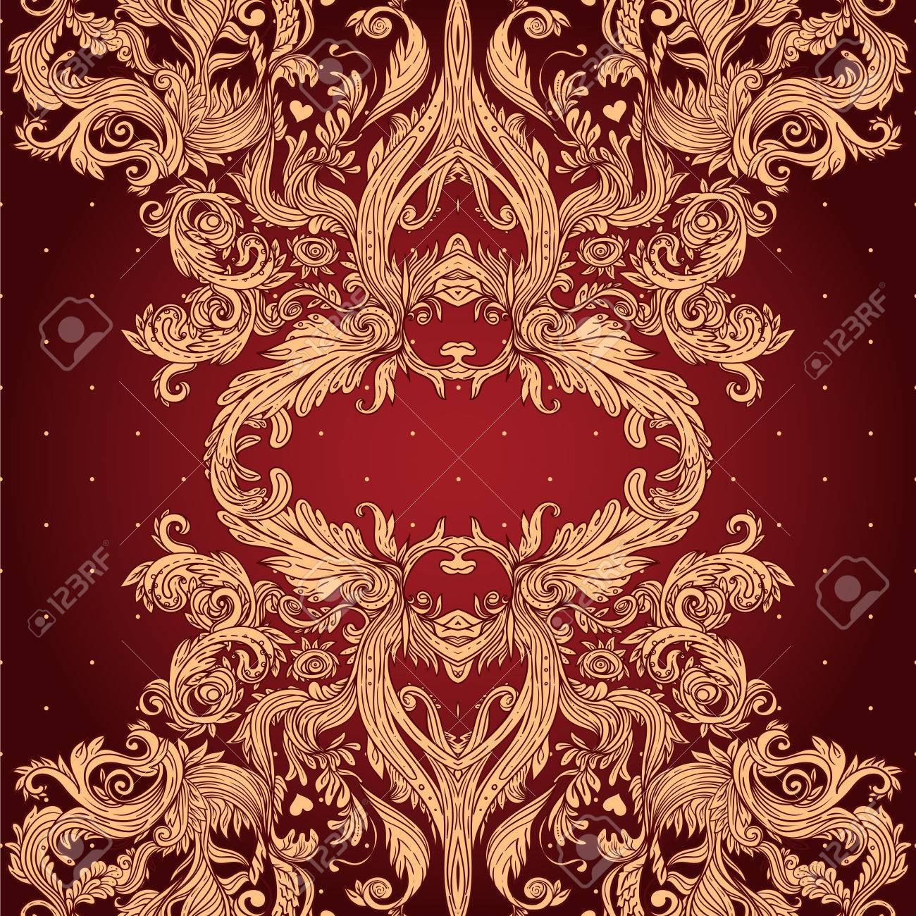 Vintage background ornate baroque pattern vector illustration stock - Vintage Background Ornate Baroque Pattern Vector Illustration Stock Vector 33592468