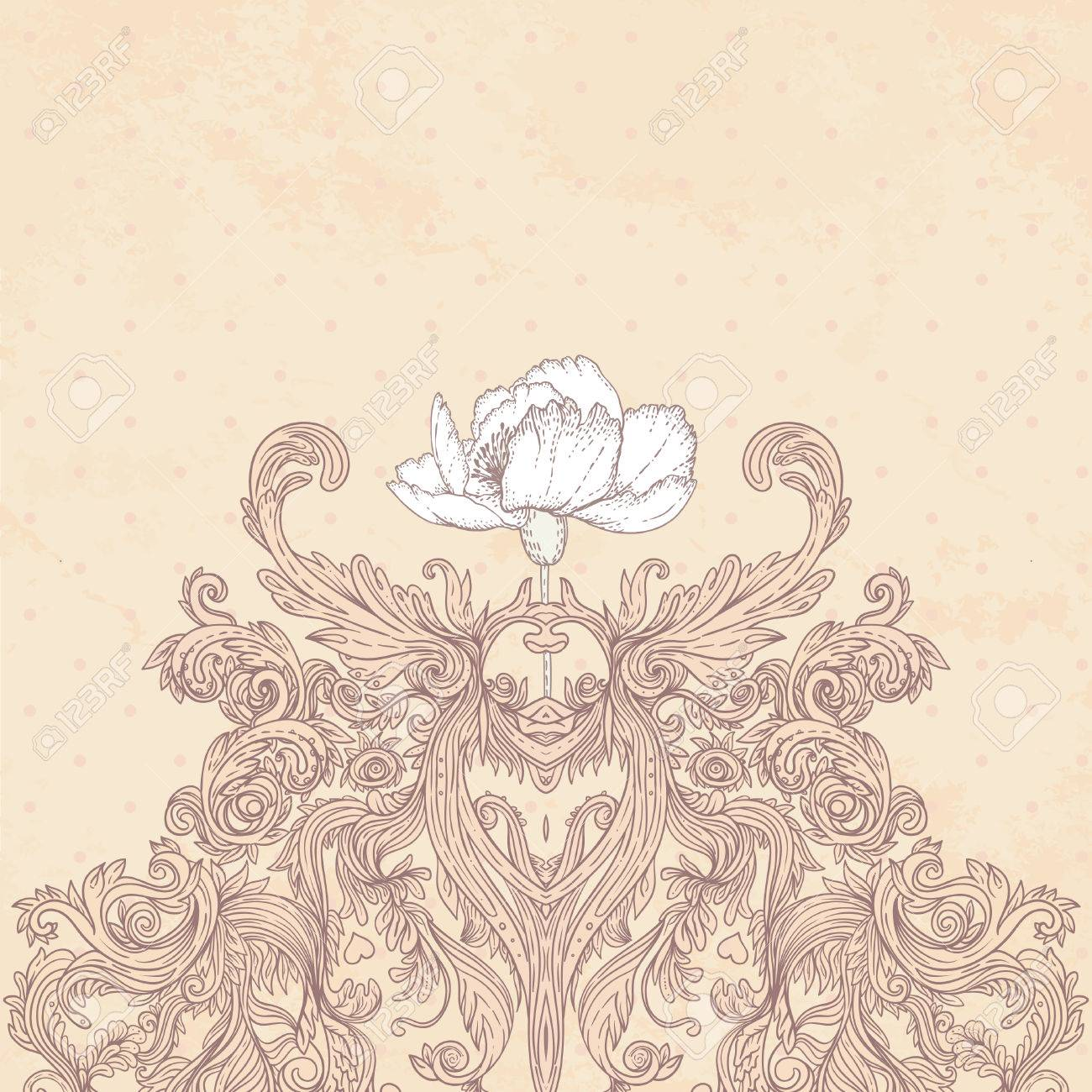 Vintage background ornate baroque pattern vector illustration stock - Vintage Background Ornate Baroque Pattern Vector Illustration Stock Vector 33592476