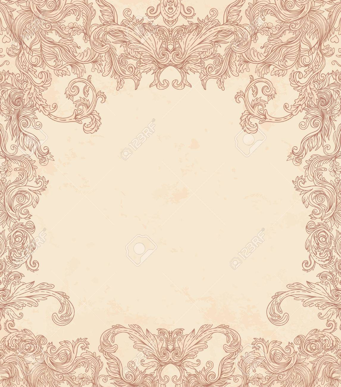 Vintage background ornate baroque pattern vector illustration stock - Vintage Background Ornate Baroque Pattern Vector Illustration Stock Vector 33592496