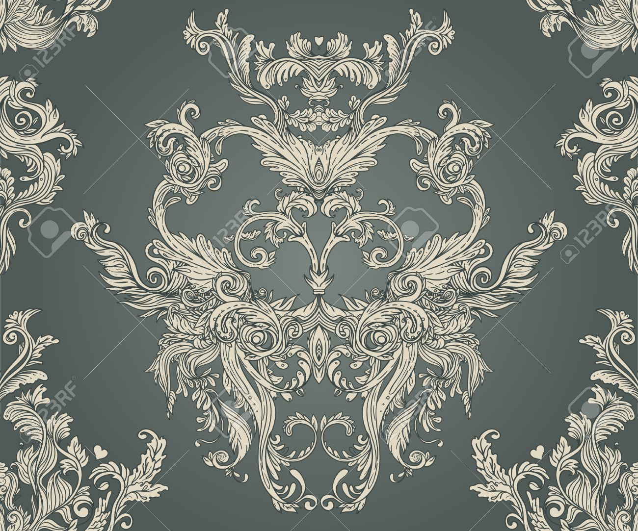 Vintage background ornate baroque pattern vector illustration stock - Vintage Background Ornate Baroque Pattern Vector Illustration Stock Vector 33592509
