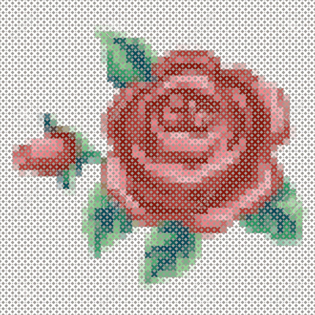 Vintage Rose Flowers Cushion Cover Cross Stitch Chart L