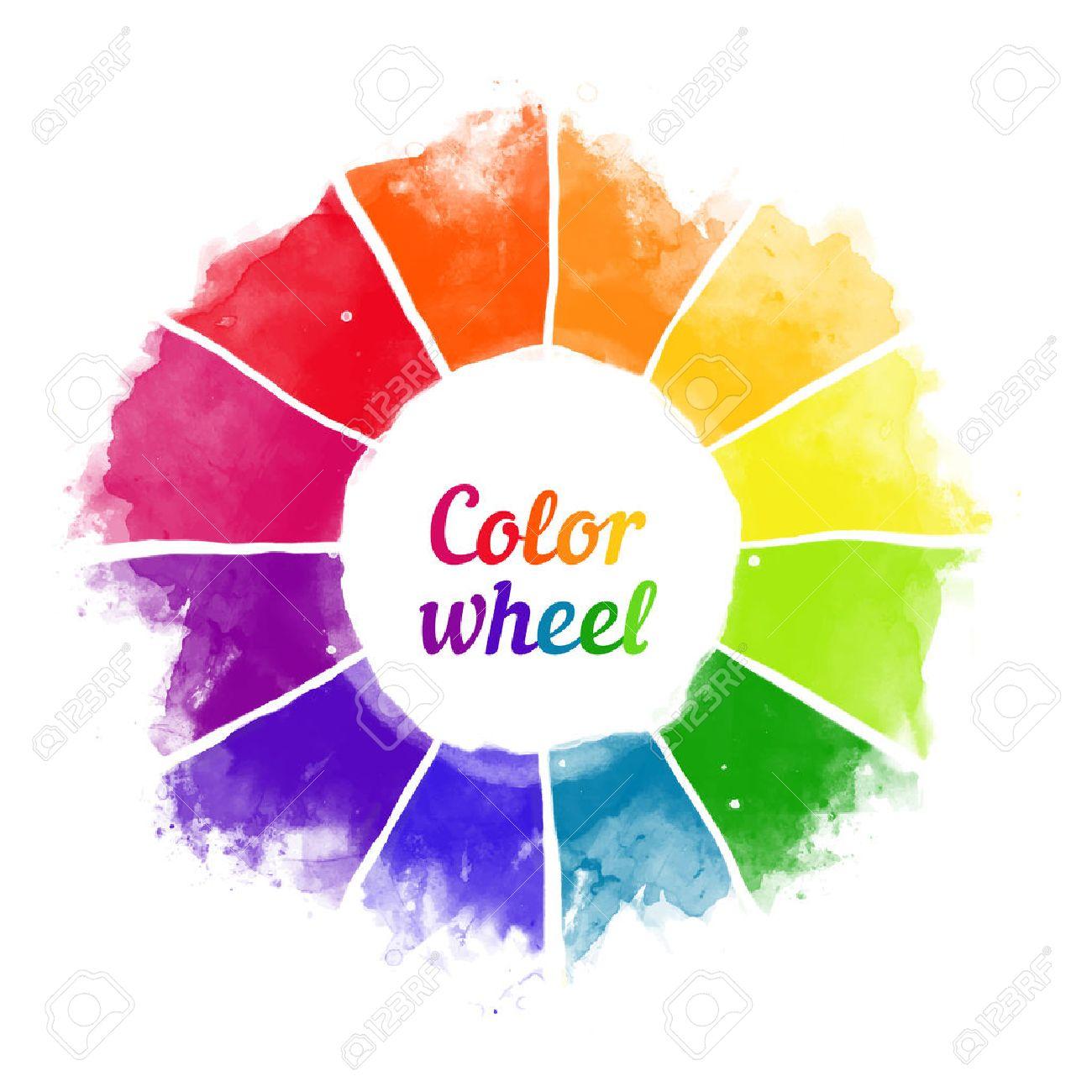 Handmade color wheel. Isolated watercolor spectrum. Vector illustration. - 43027735