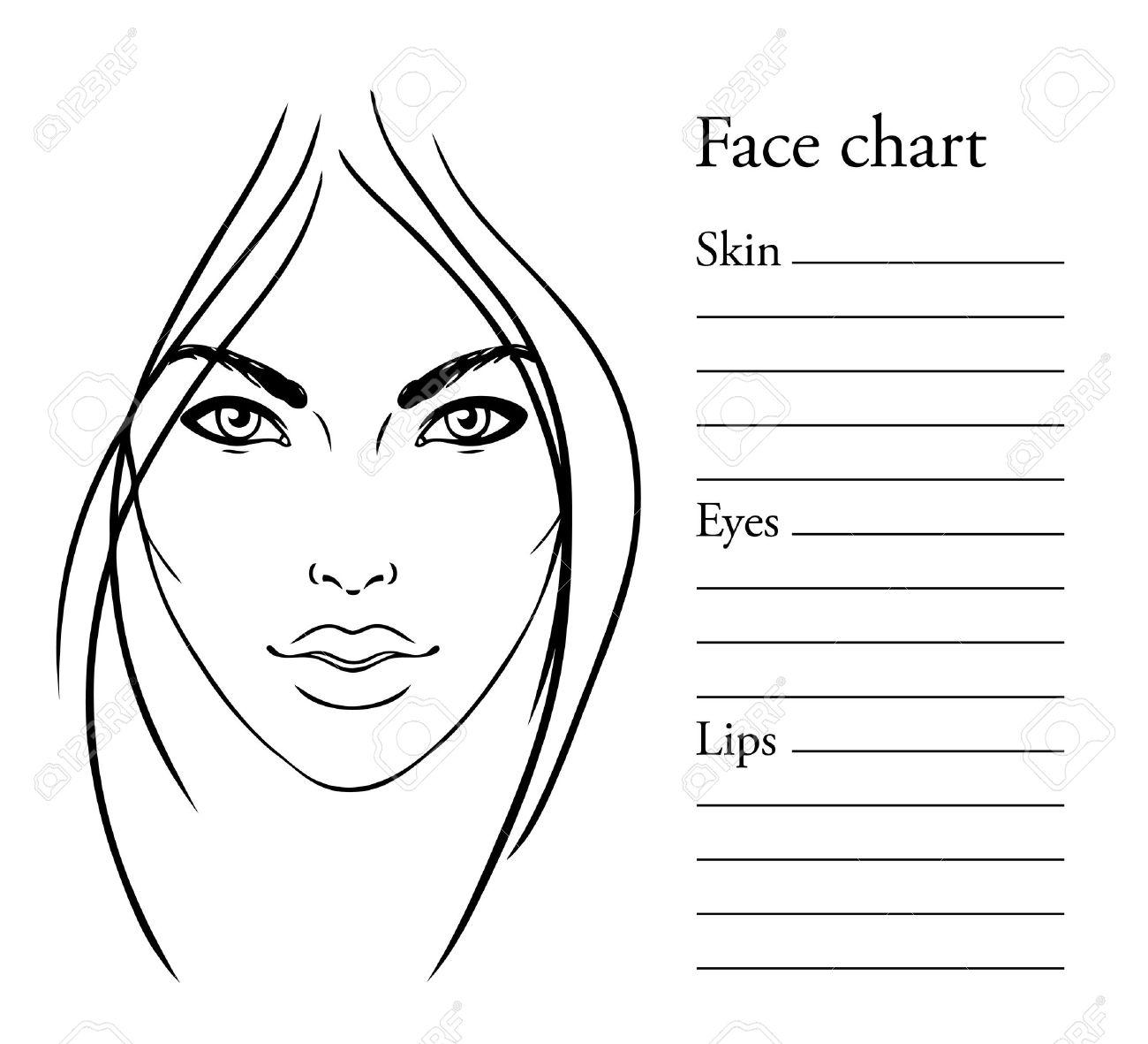 Face Chart Makeup Artist Blank. Template. Vector Illustration ...