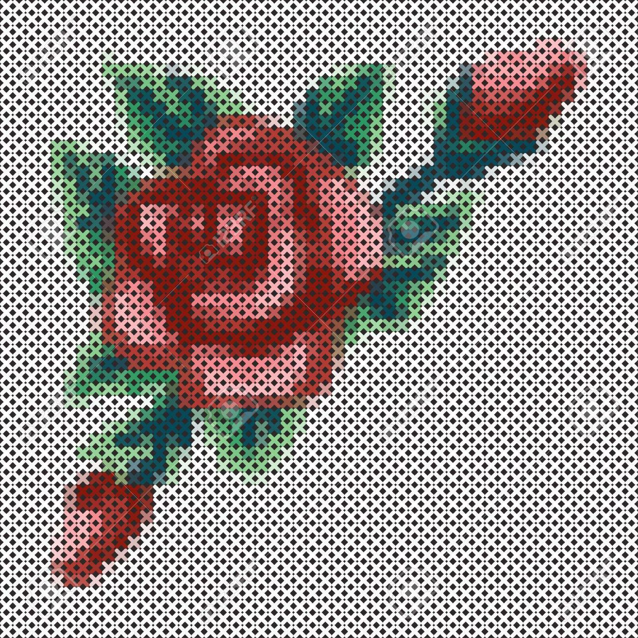 Bordado Cruz Vintage Puntada Rose Y Ramo De Flores Antiguedad