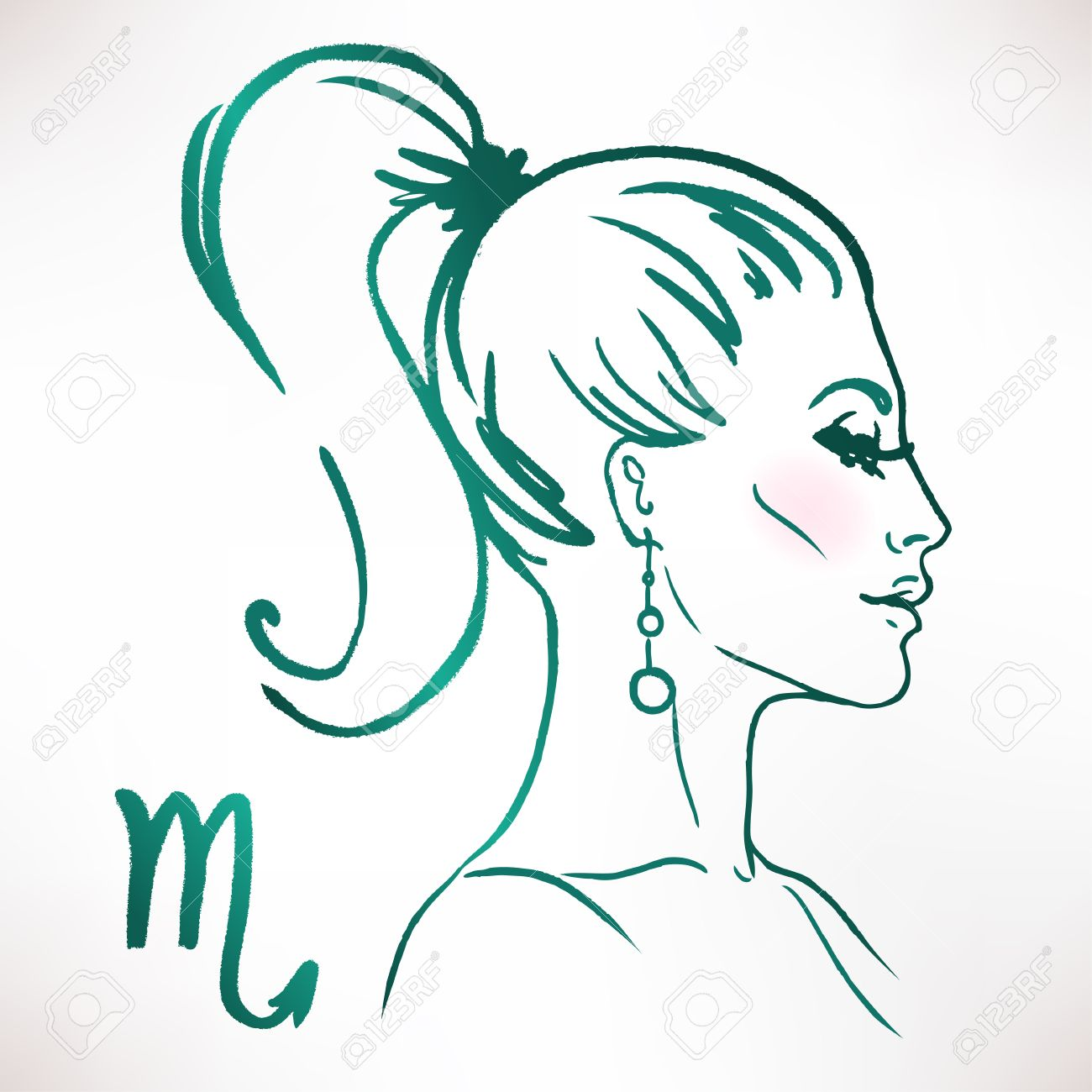 Scorpio zodiac sign as a beautiful girl. Ink and watercolor fashion vector illustration - 48246218