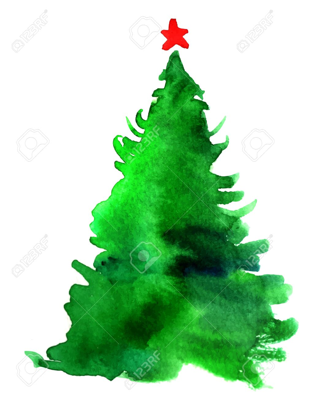 Image Christmas Tree Free.Watercolor Christmas Tree Isolated On A White Background