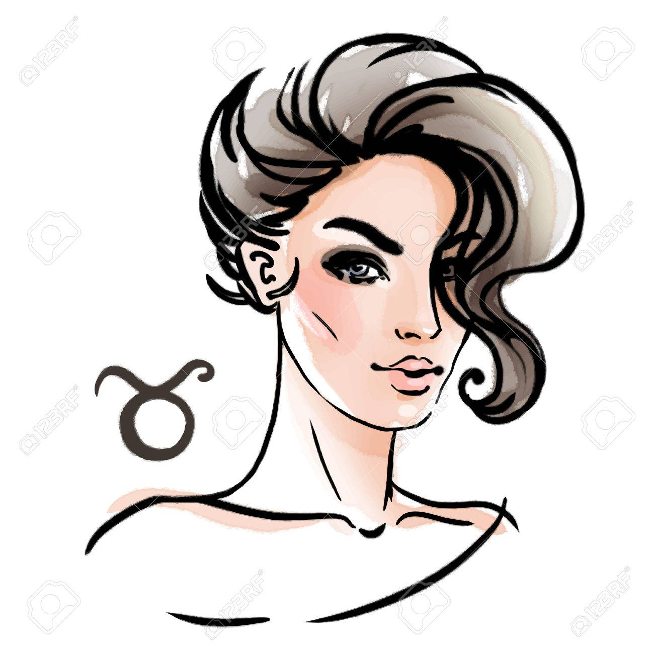 Taurus zodiac sign as a beautiful girl. Ink and watercolor fashion vector illustration - 48246221
