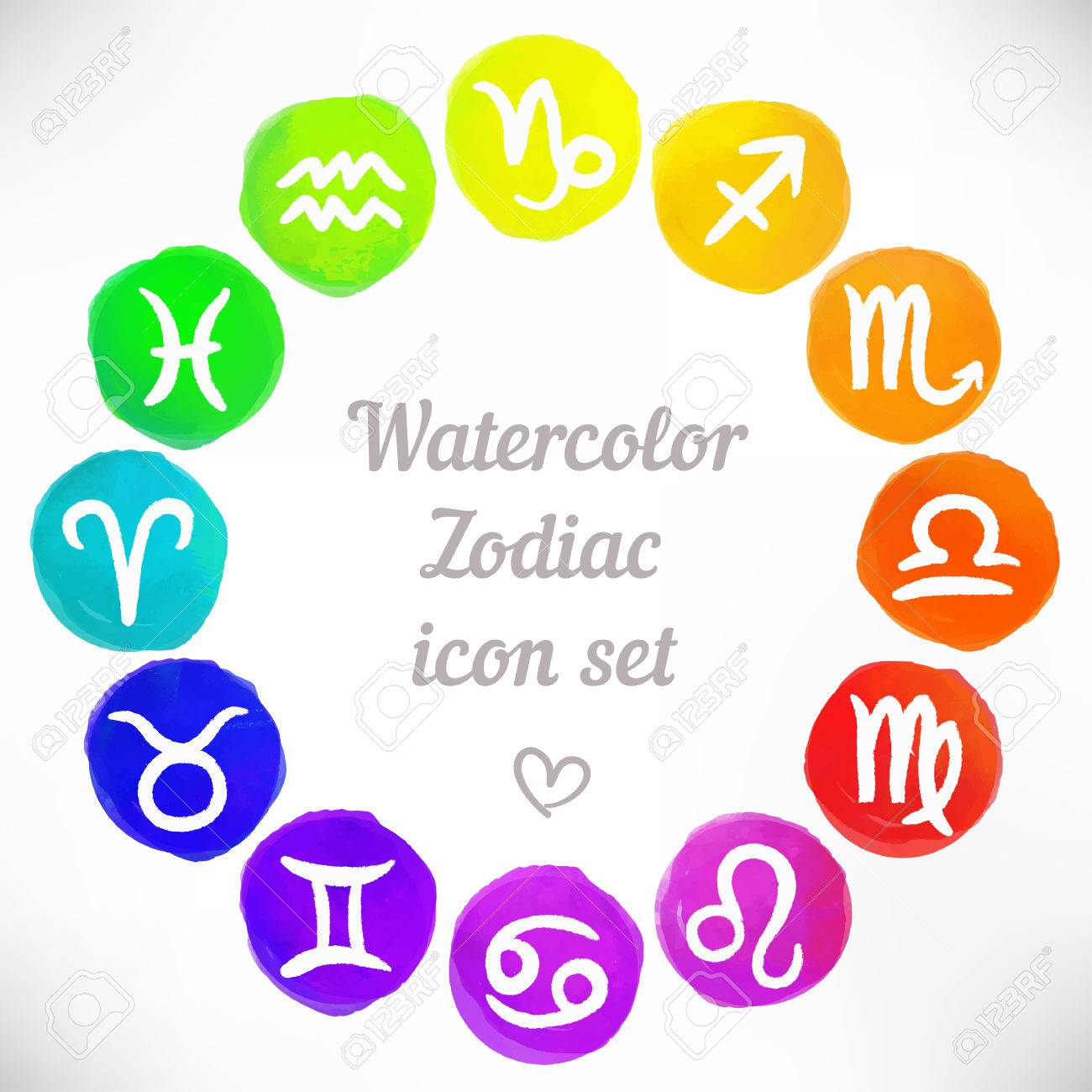 Watercolor Zodiac Icon Set Vector Sign Royalty Free Cliparts