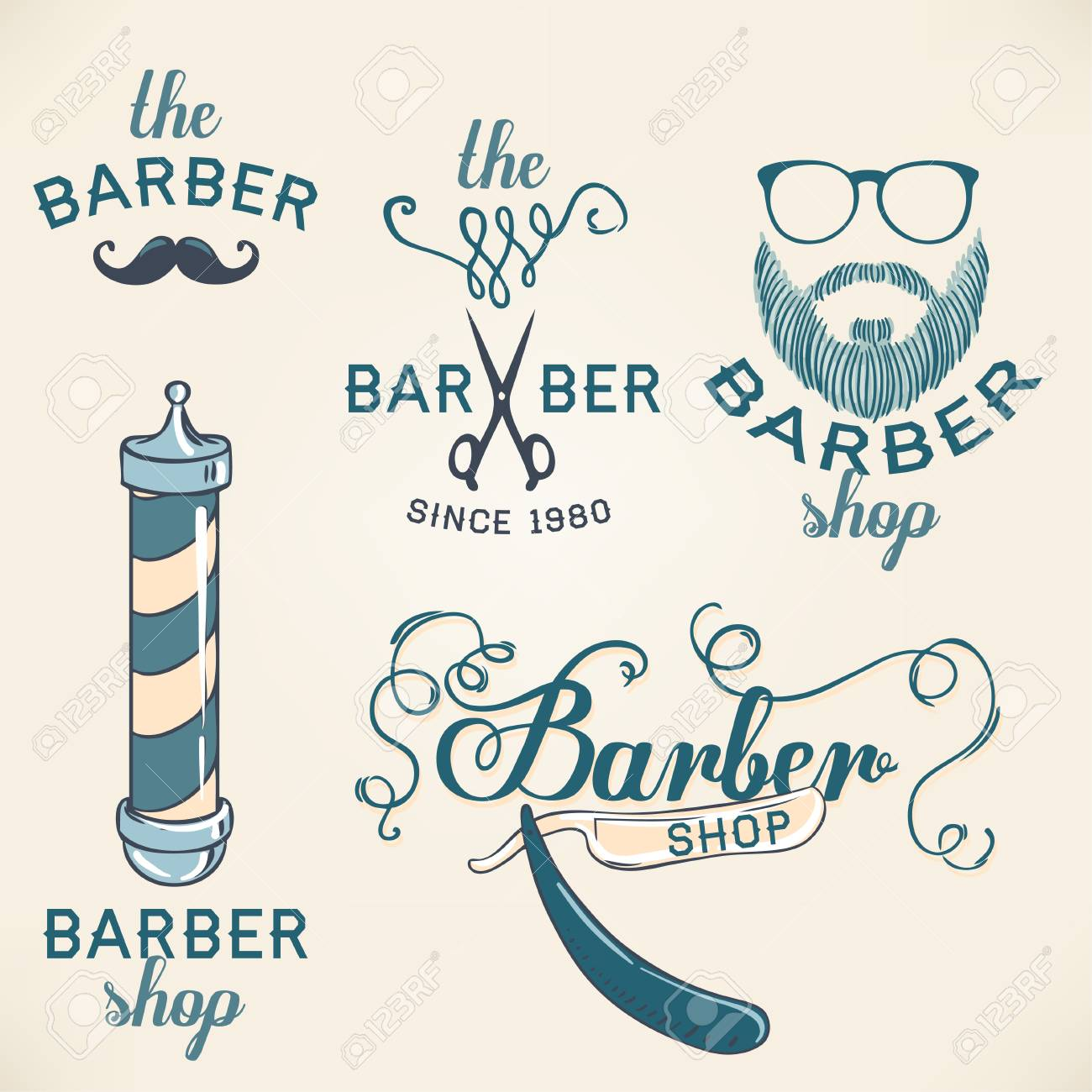 Hipster barber shop business card design template vector hipster barber shop business card design template vector illustration stock vector 43447971 reheart Image collections