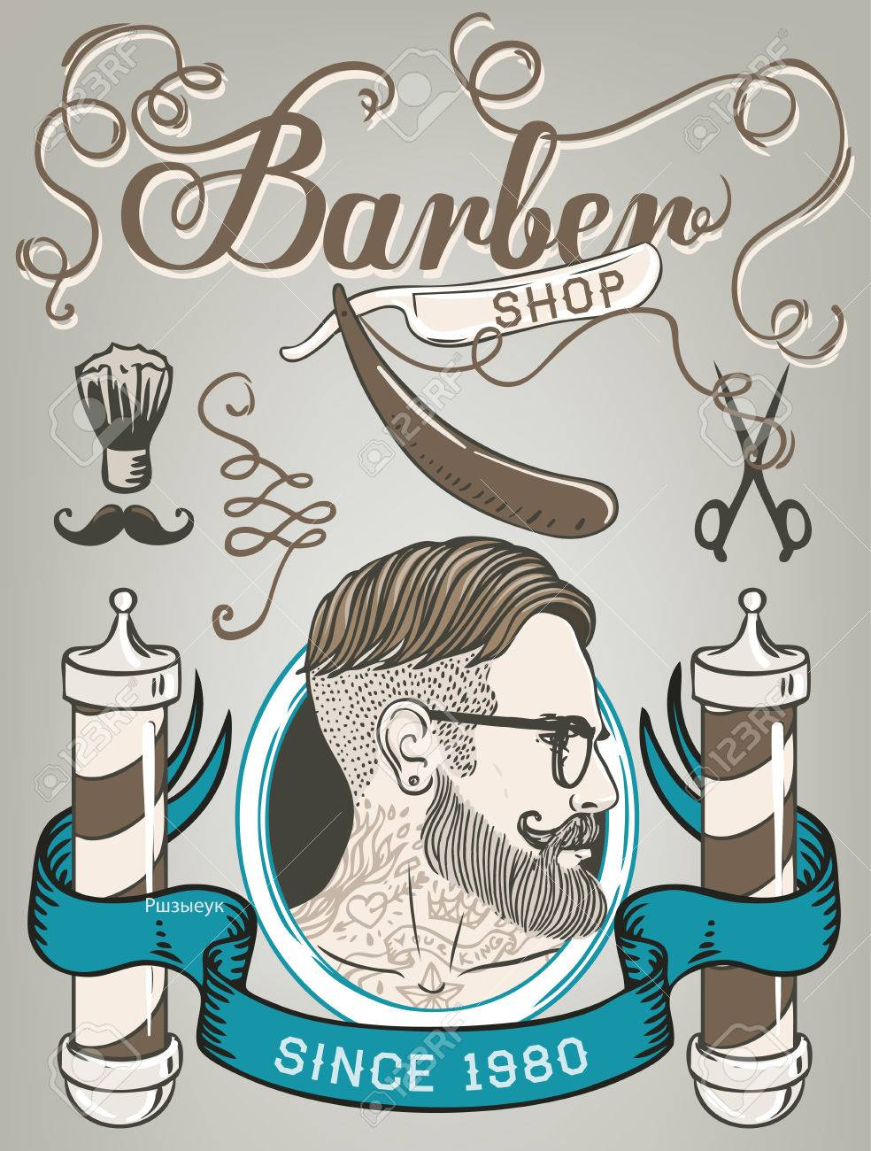 Hipster barber shop business card design template vector hipster barber shop business card design template vector illustration imagens 43448169 reheart Image collections