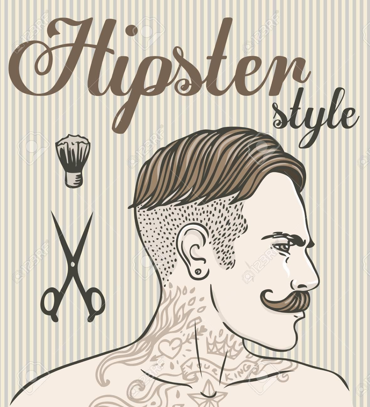 Hipster Barber Shop Business Card Design Template. Vector ...