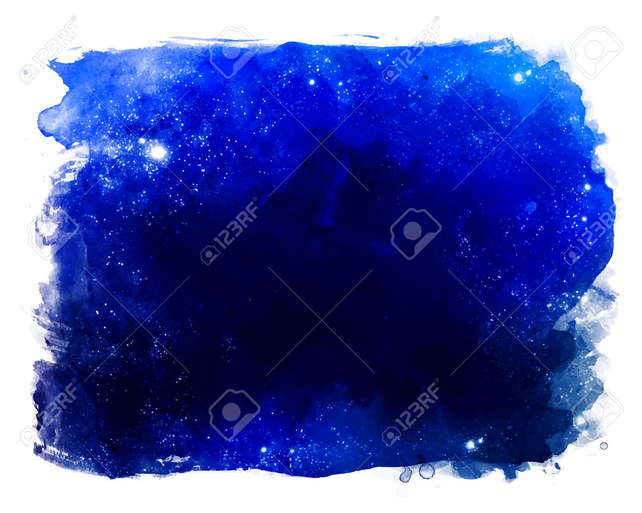 Watercolor space texture with glowing stars. Night starry sky with paint strokes and swashes. - 44358820