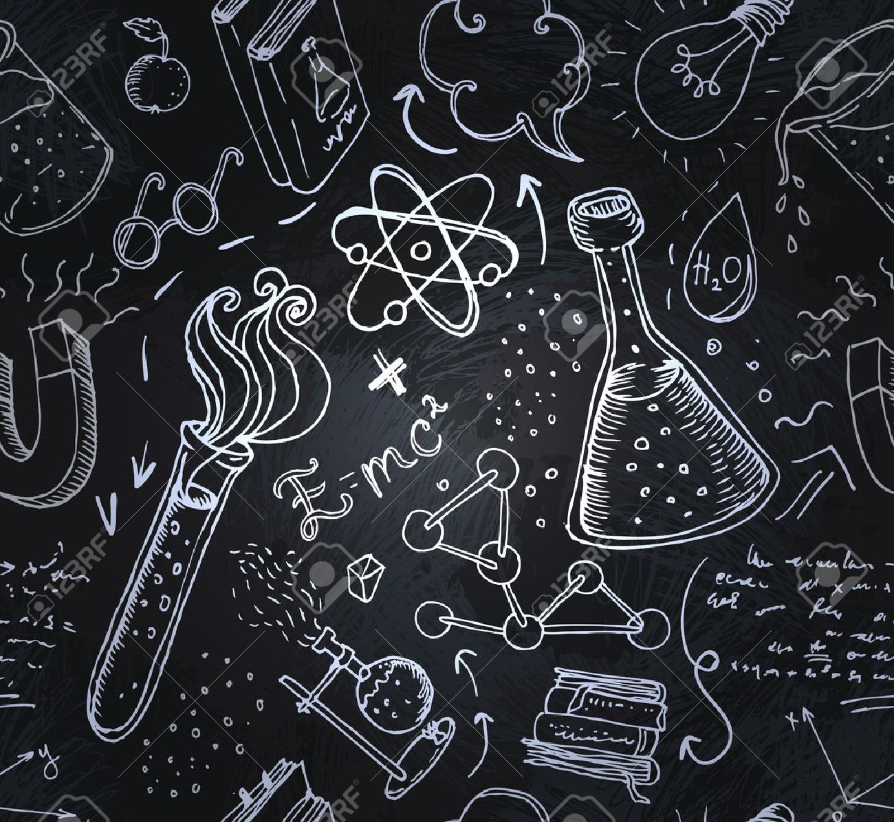 Back to School: science lab objects doodle vintage style sketches seamless pattern, vector illustration. - 44359055