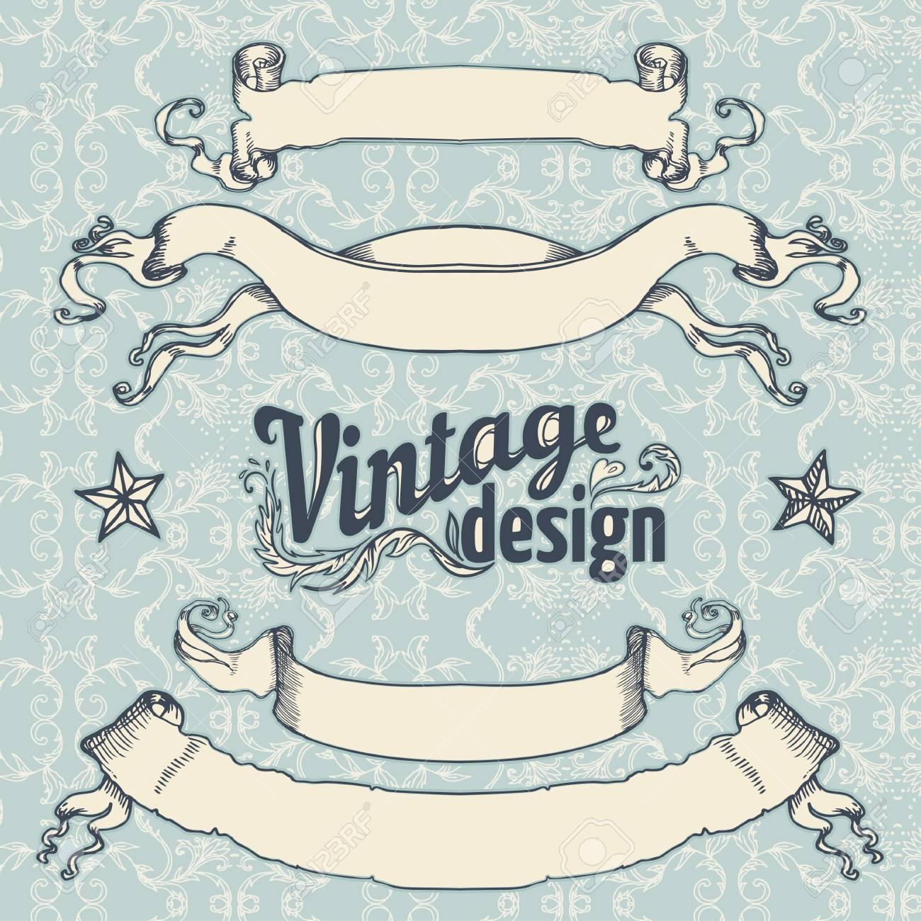 Vintage design elements set. Ribbon with floral decor. Vector illustration. - 44359298