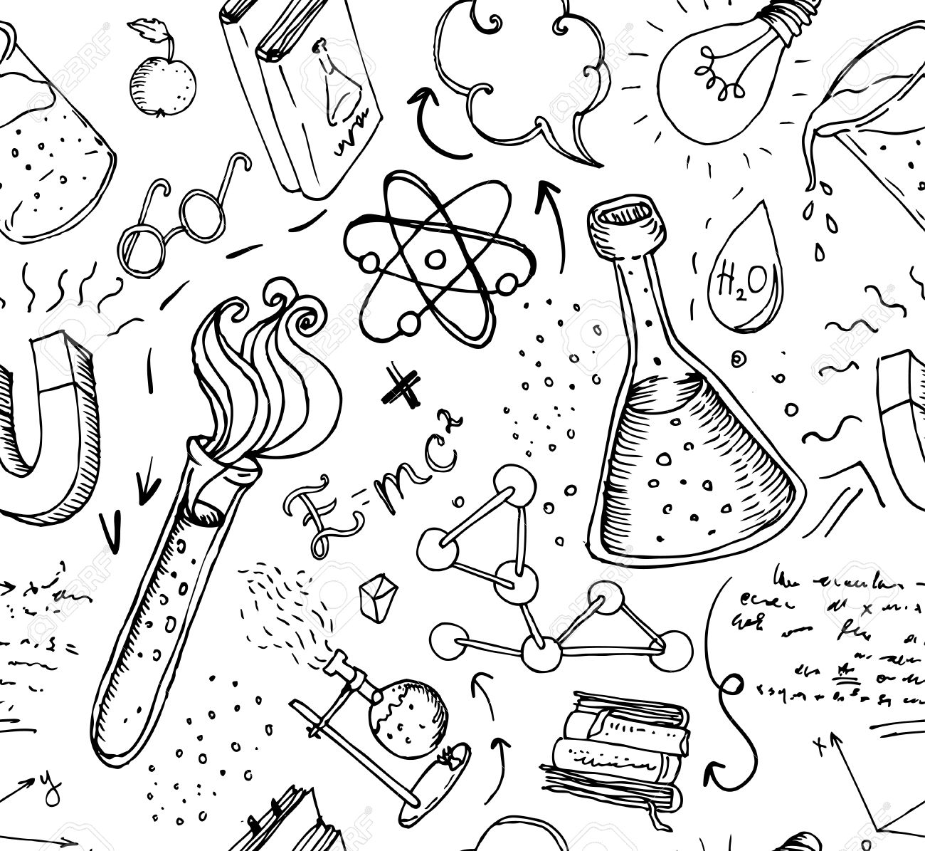 Back to School: science lab objects doodle vintage style sketches seamless pattern, vector illustration. - 44359809
