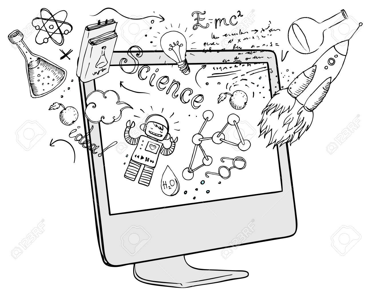 Back to School: e-learning technology concept with computer with science lab objects sketchy composition, vector illustration isolated on white. - 44362598