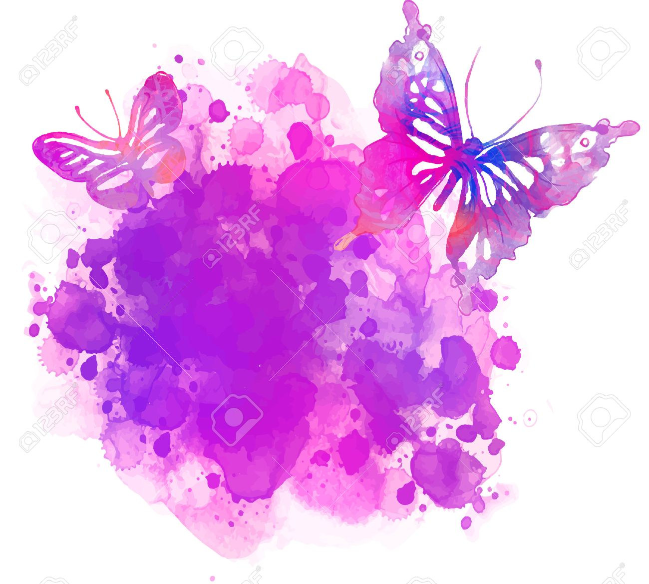Amazing watercolor background with butterfly. Vector art isolated on white - 44361812