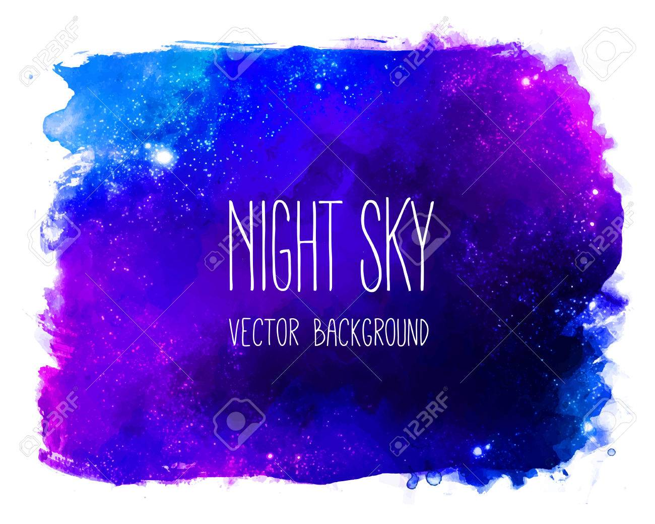 Watercolor space texture with glowing stars. Night starry sky with paint strokes and swashes. - 44360312